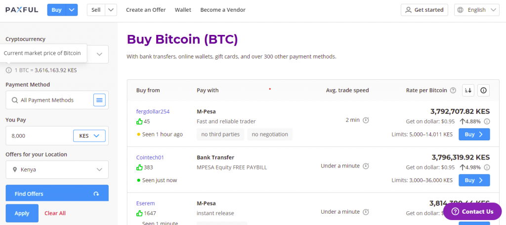 vendors on paxful selling bitcoin in kenya