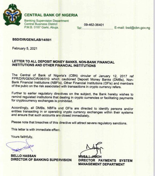 CBN bans crypto