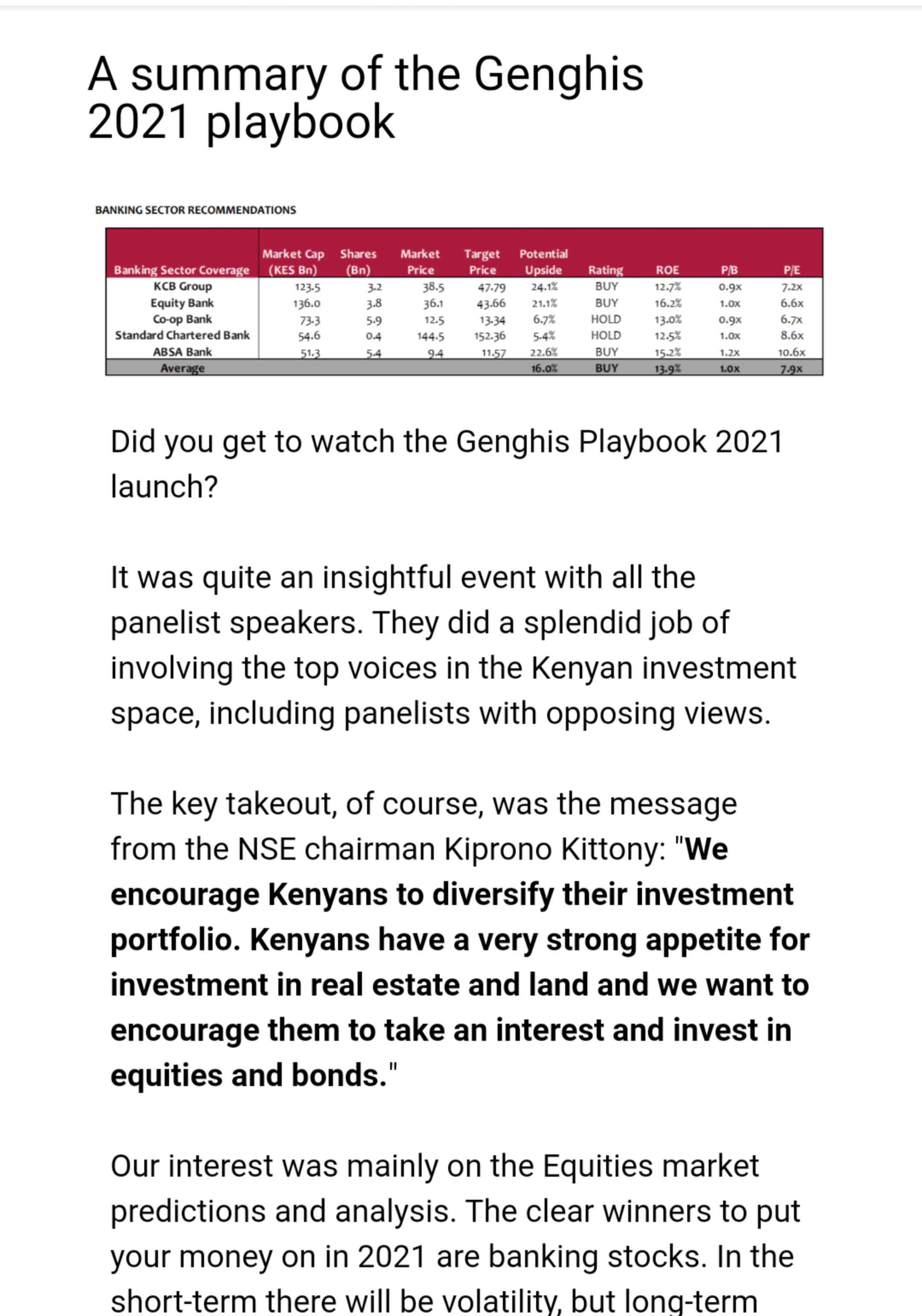The stock market - Digipesa Email Brief